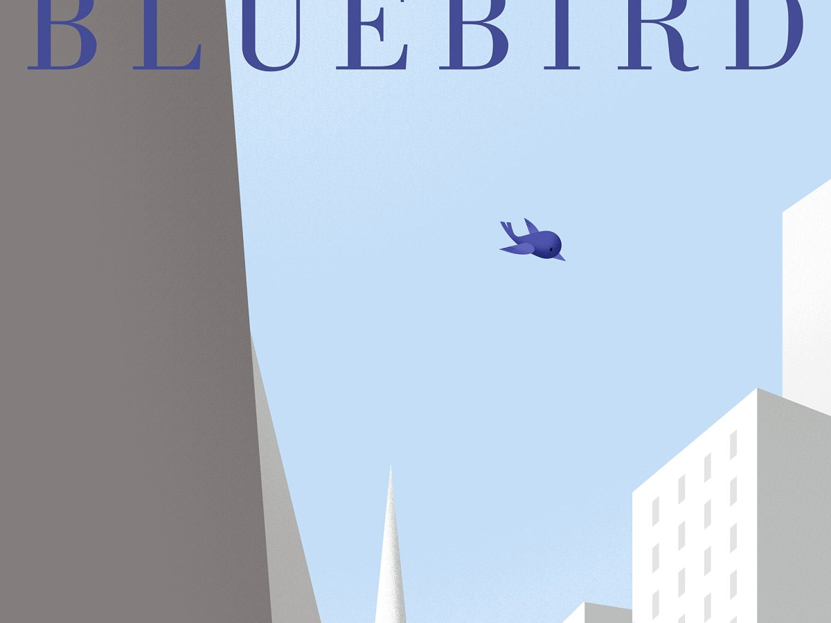 The cover shows a royal blue bluebird against a pale blue sky and a cityscape of buildings in shades of white and grey.