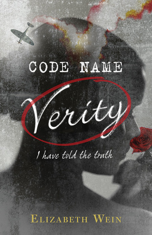 The cover is mostly in shades of grey, with a woman's face seen from behind turned to the side, smelling a rose. A plane, in a downward spiral, appears across the top. Spots of red in the smoke from the plane, the rose, and circling the name Verity provide a pop of color.