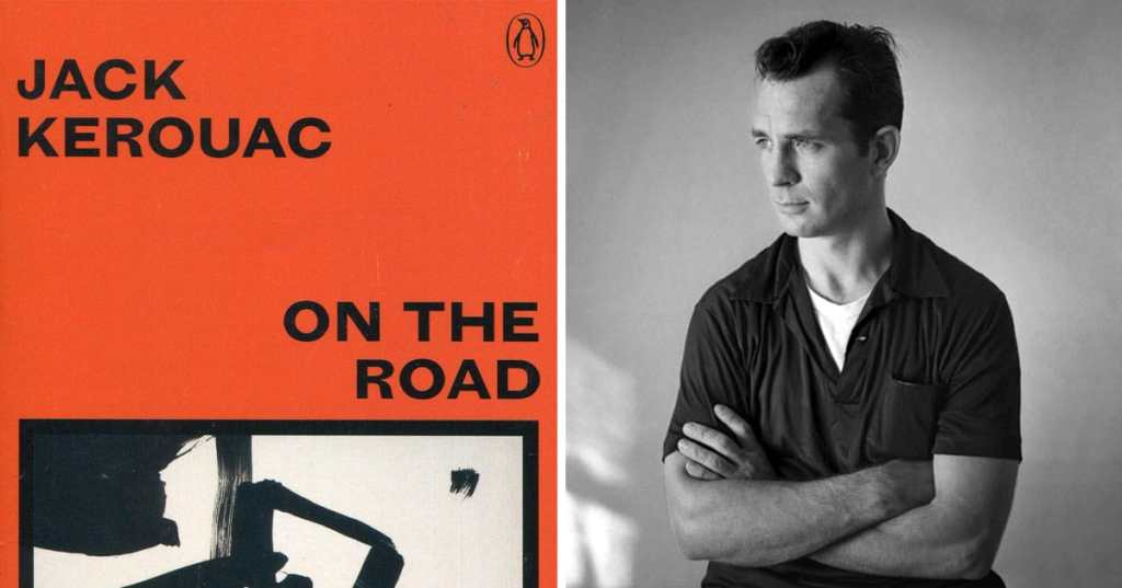 Orange cover of On The Road by Jack Kerouac on the left with a black and white photo of the author on the right with his arms crossed.