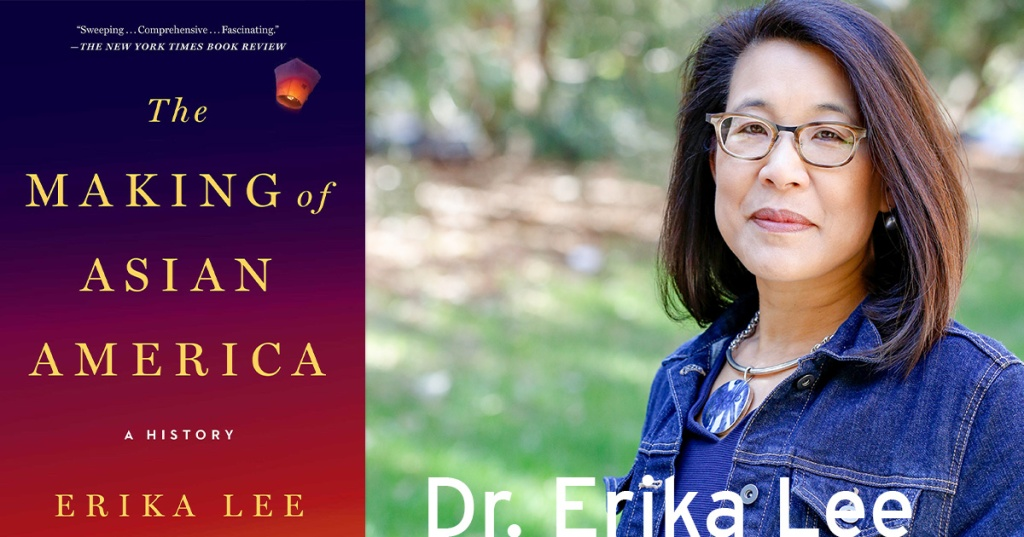 On the left, the cover of Dr. Lee's book: The color shades from deep blue to bright red with lettering in gold. A paper lantern floats in the top right corner. On the right: A photo of Dr. Lee wearing a denim jacket and large blue necklace, her hair is shoulder length and she wears glasses. A sunny green yard is out of focus behind her.