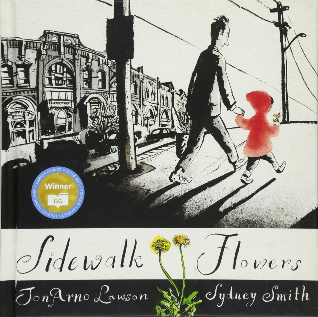 The cover is a father and child walking hand-in-hand down a city sidewalk. The illustration is done entirely in shades of black and grey, except for the child's red coat and flowers in blue, yellow, and pink. The father carries a basked of groceries and their are parked cars and historic-looking buildings in the background.