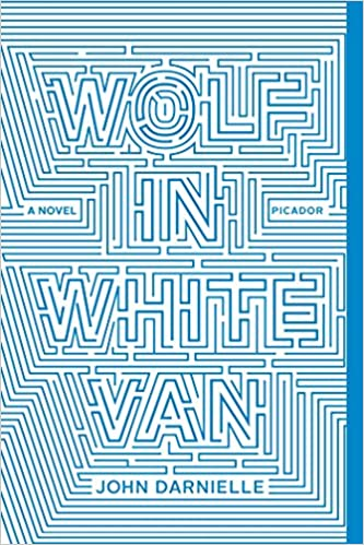 The book cover has the title in turquoise blue against a white background, the letters forming a labyrinthine maze.