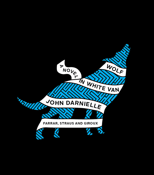 On a black background, the silhouette of a wolf howls. The wolf is in blue with a maze figured in black. A white banner wraps the wolf with the title and author.