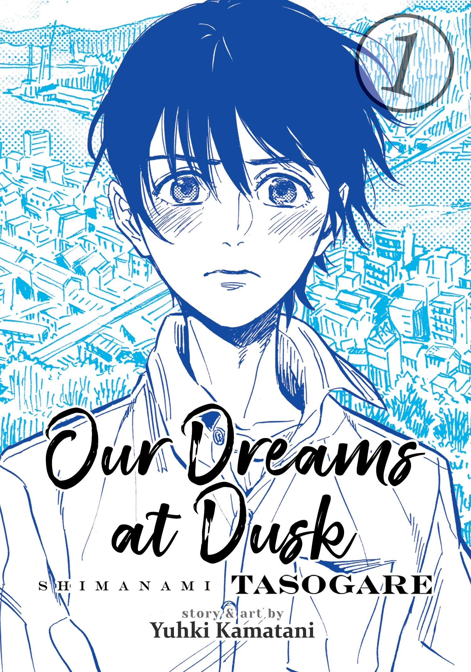 """Cover of """"Our Dreams at Dusk"""" manga with a monotone illustration of the main character looking disheveled and distraught, with a cityscape in the background."""