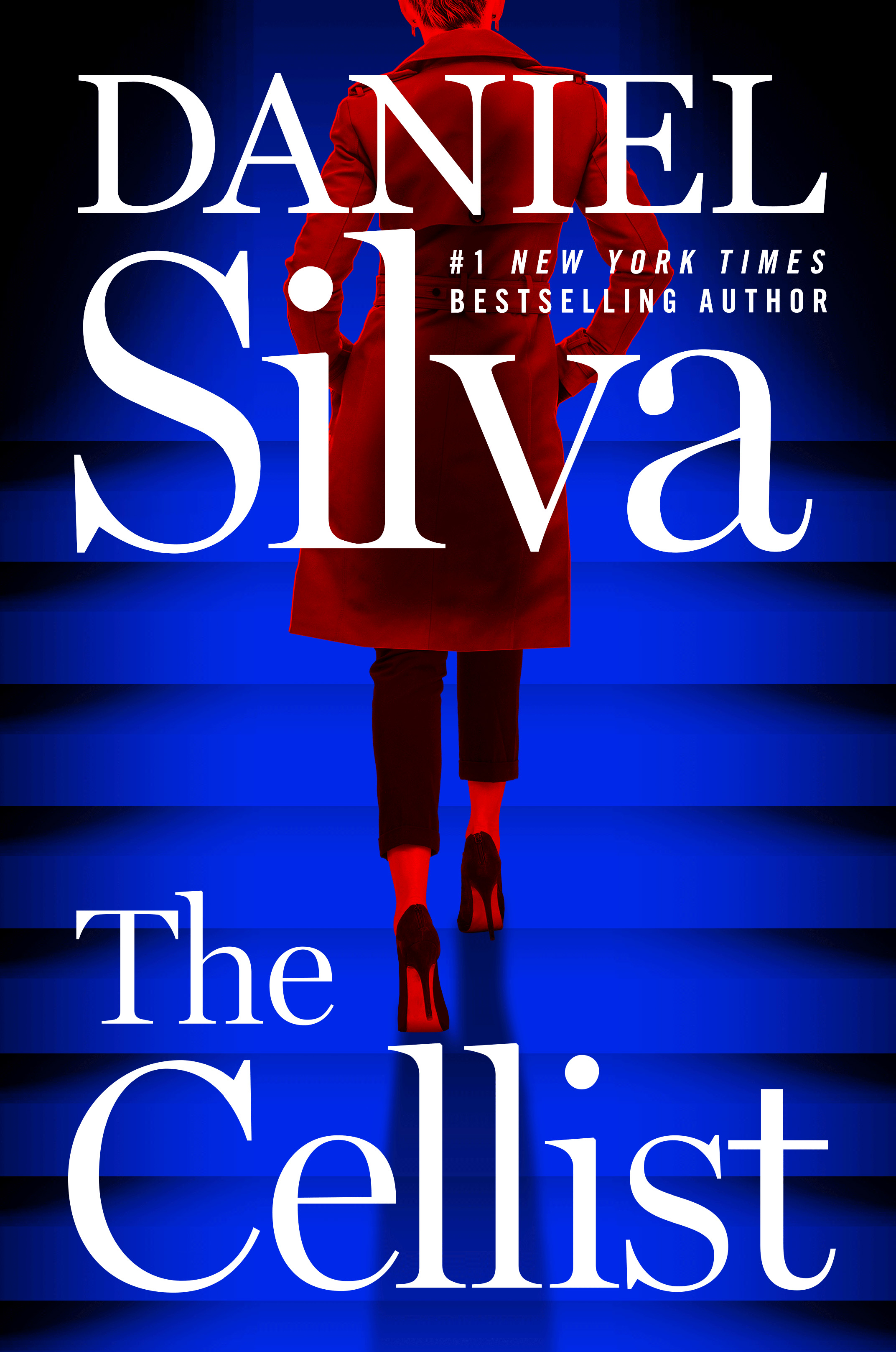 Book cover for The Cellist: A woman wearing a bright red coat and high black heels walks with her back to the reader. The cover is a bright blue that fades to black along the edges.