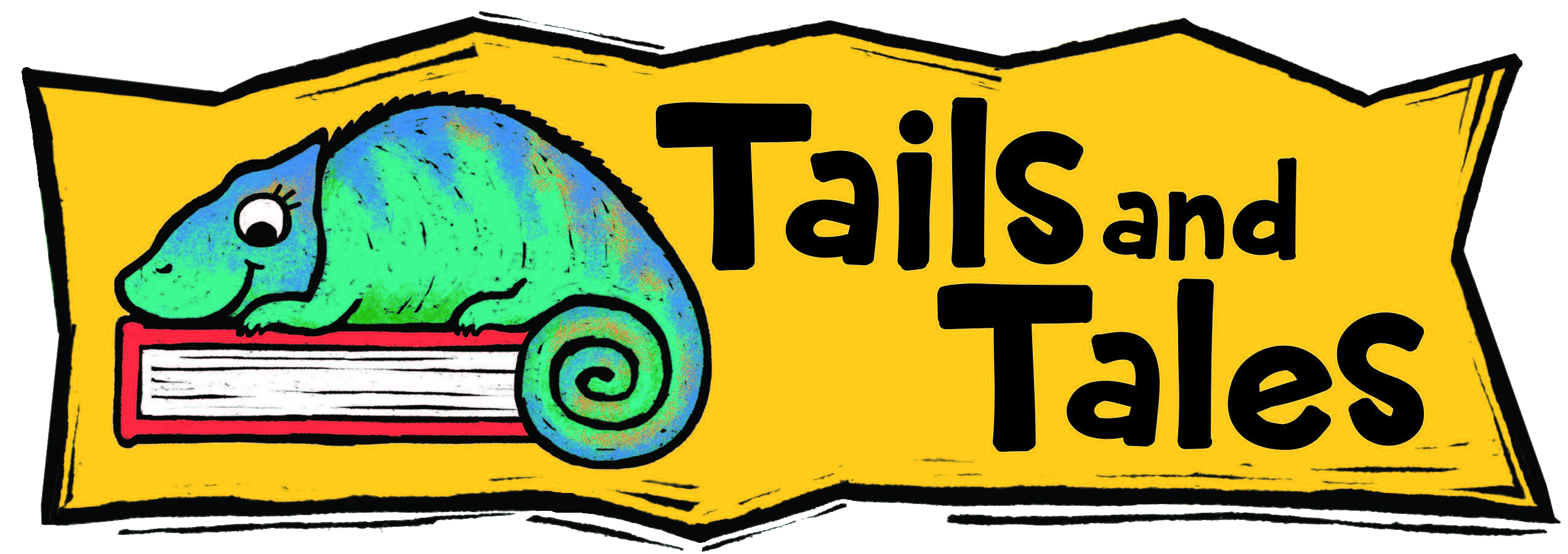 A green and blue chameleon rests on a red book. The yellow banner reads: Tailes and Tales.