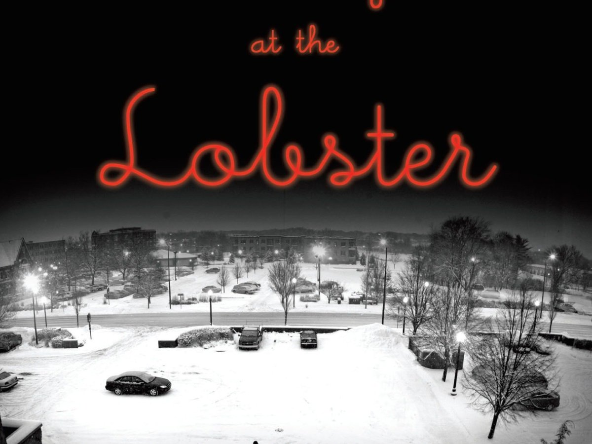 The book cover, a photograph rendered in shades of black and white, is of a wintery night in a parking lot, with scattered lampposts with bright lightbulbs, a handful of cars, snow on the ground, and a solitary figure in black trudging towards a building. Across a snow-covered road in the distance are more trees, cars, and buildings.