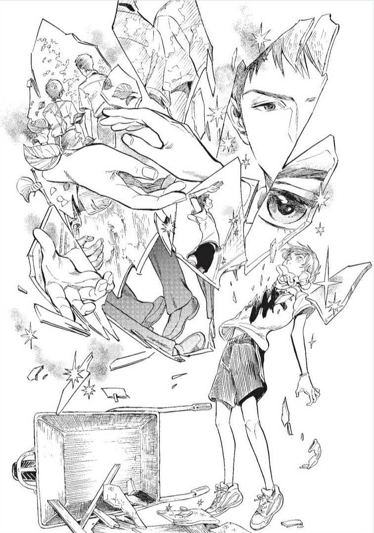 Tasuku realizing his feelings: illustrated as shards of glass reflecting a wide variety of images.