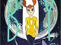 """A figure in a yellow top and blue pants appears in front of Earth. The """"O"""" in Space Boy looks like a big white oval."""