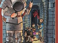 The cover of Delicious in Dungeon Vol. 1 shows a young man in armor with brown boots and a bedroll on his back, holding a spatula and frying pan. He appears to be in a castle dungeon, with other characters deeper in the hallway behind him, as well as a red dragon approaching that none of them see because their backs are turned.