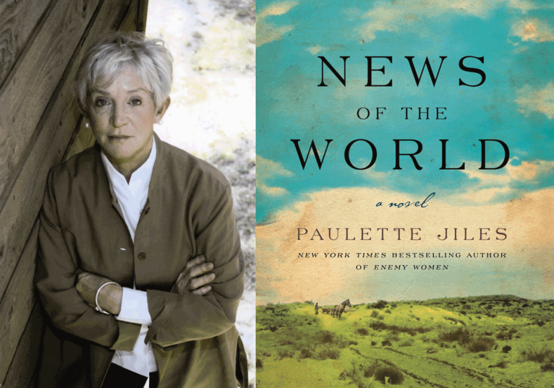 A picture of the author in weathered, natural tones appears to the left of the book cover: which shows blue sky above scrubby green hills.