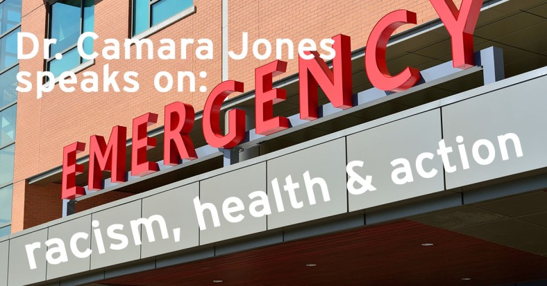 """A photo of a hospital's emergency room entrance, with EMERGENCY in large red letters, acts as a marquee for """"Dr. Camara Jones speaks on racism, health, and action."""""""