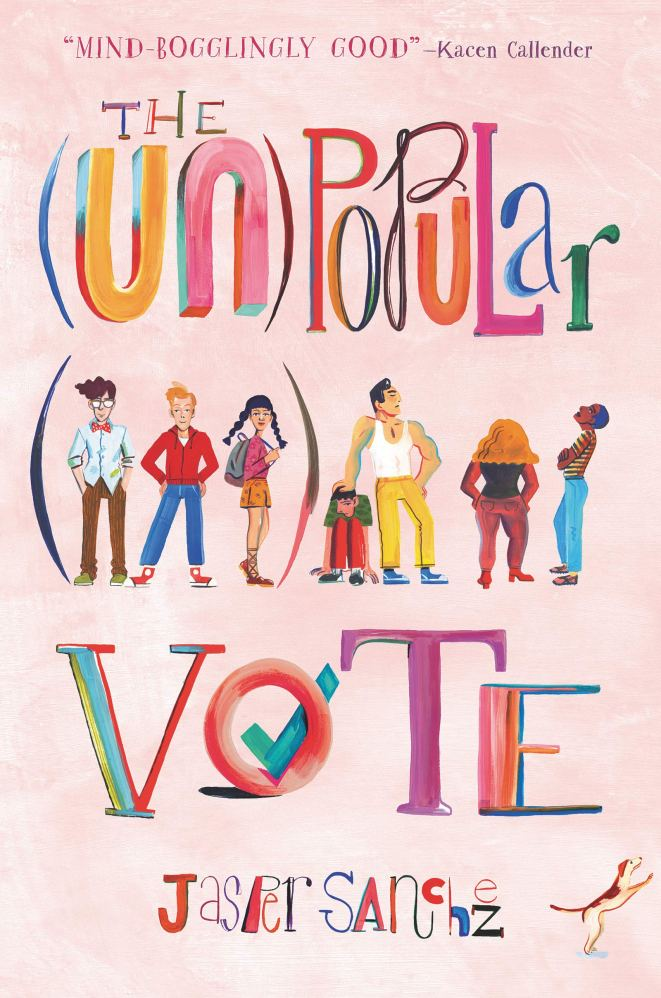 """The book cover shows a diverse group of teens dressed for school, one with a backpack. The title is in bright multicolored letters of different fonts, against a pink background, with a blue check mark in the center of the """"O"""" in the word """"vote."""""""