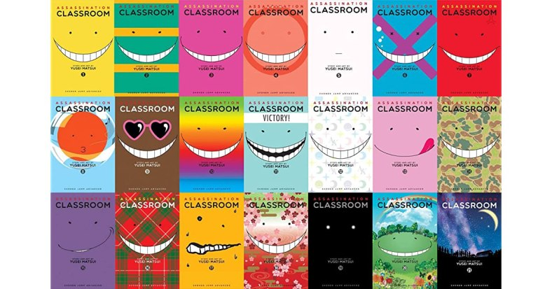 21 issues of Assassination Classroom, all with the point eyes and a smile on a variety of backgrounds from bright colors, patterns, and landscapes.