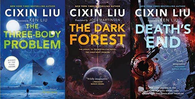 Collage of three Cixin Liu covers for The Three Body Problem, The Dark Forest, and Death's End. All the covers show mysterious objects in a outer space-like setting.
