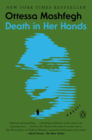 The cover is in green, with the semi-profile of a woman in light blue; its edges are jagged as if pixilated on a flickering TV screen. At the very bottom of her profile, where the chin would be, is a tiny human silhouette in black, facing her as if approaching.