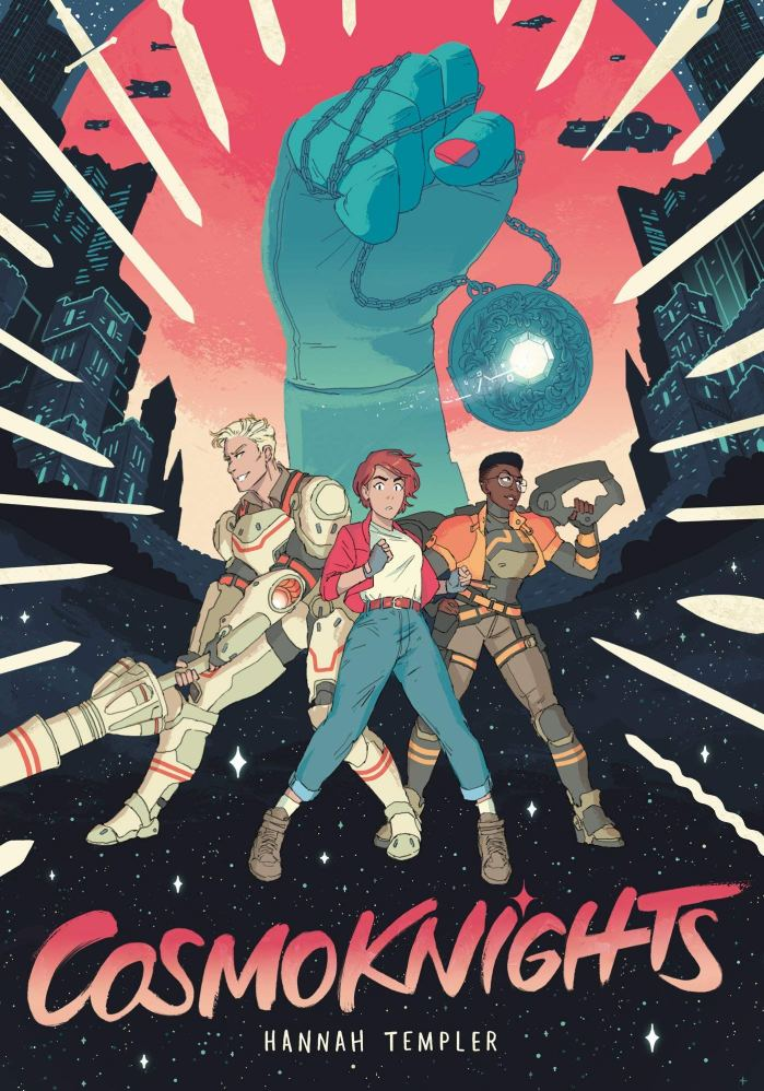 This photograph shows the cover of Cosmoknights and has the 3 main characters, Cass, Pan, and Bee in the foreground. Cass and Bee are wearing their jousting armors and carrying their weapons. In the background is presumably the hand of a princess grasping their favor which is an electronic pendant carried by the princesses of each planet and is given to the winner of each joust.