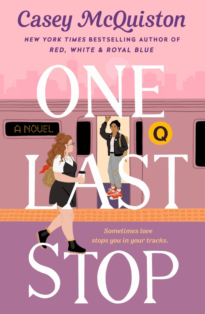 The cover, in shades of pink and lavender, shows the two main characters looking at each other; Jane is on the subway, dressed in a black jacket, torn jeans, a white t-shirt and orange sneakers; August is walking alongside the subway station, wearing a white t-shirt and black jumper and boots, carrying a cup of takeaway coffee with a purse slung over her shoulder.