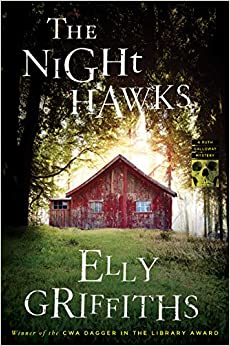 The cover of The Night Hawks shows a backlit red house with a triangular roof, with dark trees above and green grass in the foreground.
