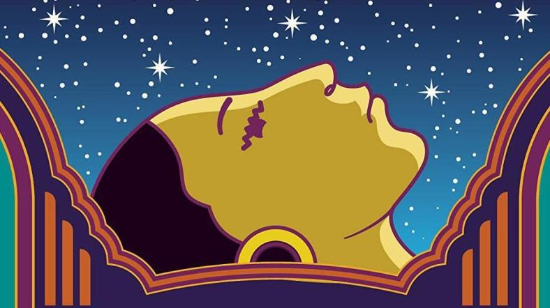 Profile of a young Mexican woman surrounded by a night sky full of stars, from the top of the book cover.