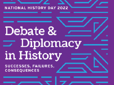 """A purple background with bright blue patterns reads """"Debate & Diplomacy in History""""."""