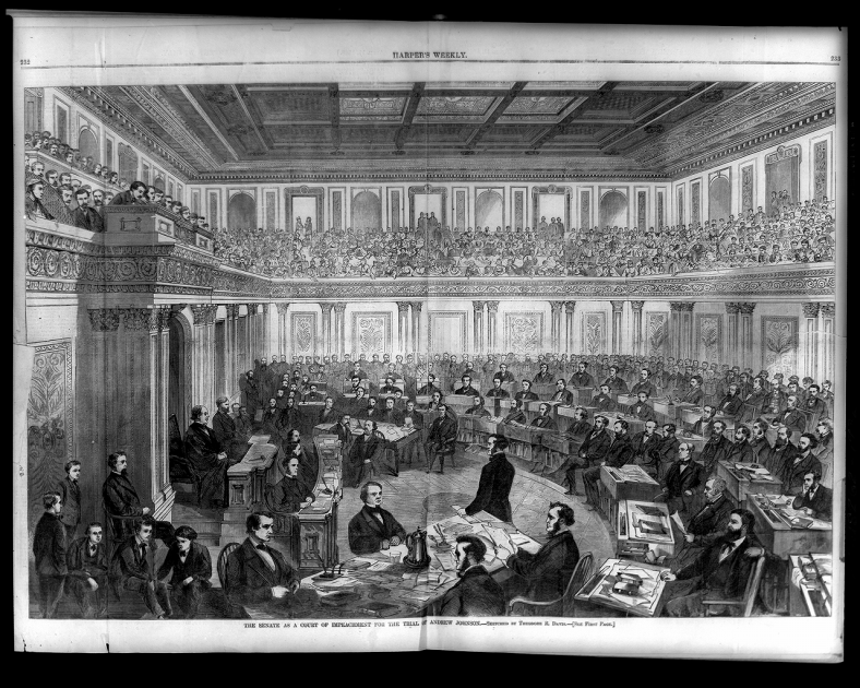From US Library of Congress, print of Congress during the impeachment trial of Andrew Johnson