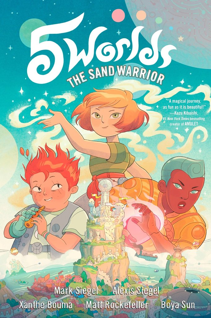 This image shows the cover of The Sand Warrior, the first in the 5 Worlds series. Main character Oona is in the middle with her friends An Tzu on the left playing a flute, and Jax Amboy on the right, whose left hand is glowing with energy. Oona is manipulating sand. The bottom of the image shows an alien landscape.