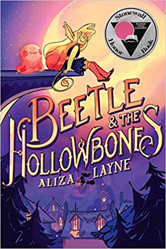 This image shows the cover of Beetle and the Hollowbones. Main character Beetle and best friend Blob Ghost are sitting atop a ledge set in front of a full moon over top of houses and trees.