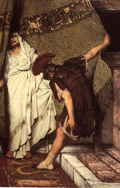 This detail from the painting depicts Gratus, dressed in the brown uniform of the Praetorian Guard, pulling back a green curtain with brown fringe and a white and brown circular pattern, to reveal the emperor Claudius behind the curtain.  Claudius is robed in white and his frightened face is half-hidden behind the curtain.  Gratus is bowing to him.