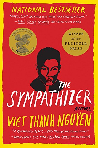 A red cover with a yellow border features an illustration of a Vietnamese man's face. Includes award stickers for the Pulitzer Prize and the Andrew Carnegie Medal for Excellence in Literature