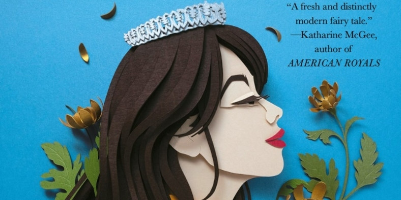 """Close up view of the cover, featuring young woman's face created in paper art, with long dark hair, red lips, and a tiara, against a blue background. The quote read, """"A fresh and distinctly modern fairy tale."""" Katharine McGee, author of American Royals"""